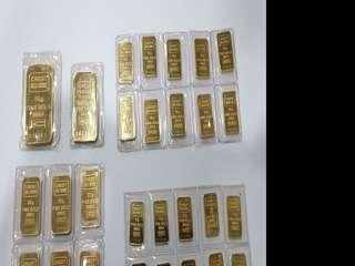 Circulated Credit Suisse gold bars of various denominations (good condition!)