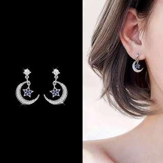 ╭✿蕾兒0509✿╮DB043-韓國耳飾月色皎潔輕柔搖擺星星耳環耳釘耳針飾品首飾流蘇耳環
