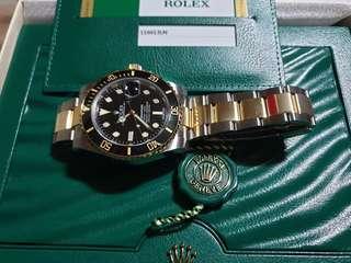 Rolex submariner 1/2 Gold black 116613Ln