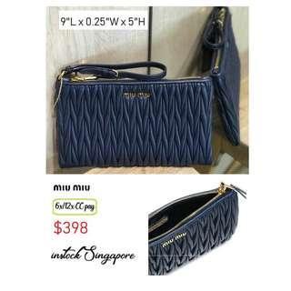 6e3a88e0cc0 READY STOCK authentic new Miu Miu 5NH811 MATELASSE wristlet clutch bag blue  fullleather