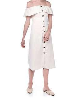 🚚 TEM editors market inspired laure linen off shoulder dress