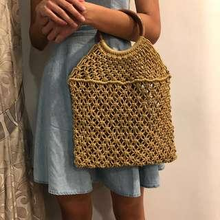 Woven tote with rattan handles (mustard/white)