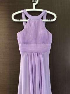 Purple halter bridesmaid dress