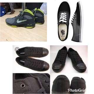 3 shoes: Vans,jack parcell (converse) and nike air not nike, adidas