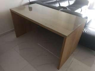 Big Flat Computer Desk Pine Color with Glass Top