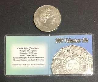 "Australia 50 cents coin in plastic folder "" volunteer"""