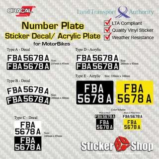 Decal & Acrylic Number Plate for Motorbike (LTA Compliant)