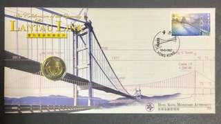 Hong Kong Lantau link celebration $10.00 coin on first day cover.
