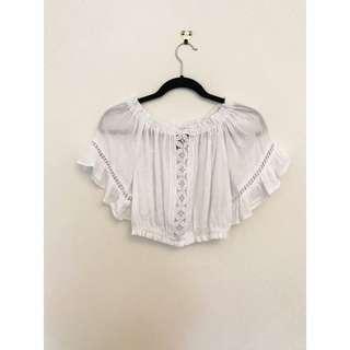 H&M White Boho Off-Shoulder Crop Top