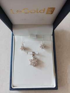 Genuine 18K WG Diamond Pendant Earring Set