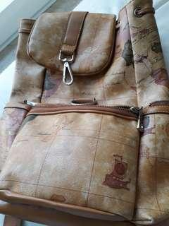 Brown map backpack