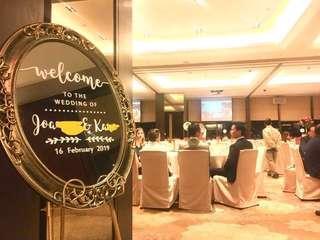 婚禮佈置 Wedding welcome mirror signs 婚禮迎賓牌鏡面 rental