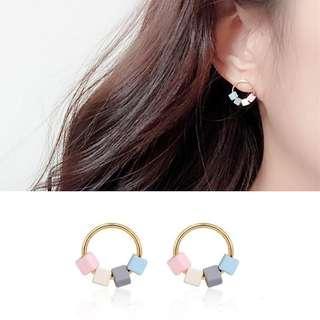 ╭✿蕾兒0509✿╮EB052-韓國耳飾沁心拚色糖果方塊耳環耳釘耳針飾品首飾流蘇耳環