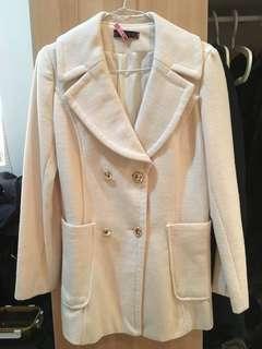🚚 白色毛呢西裝感大衣外套 已送洗過