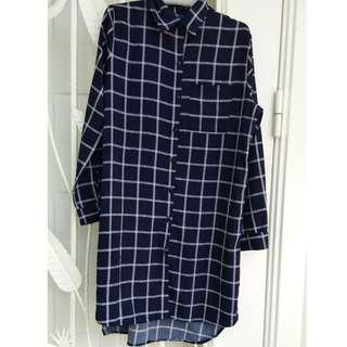 Grid long tunic top