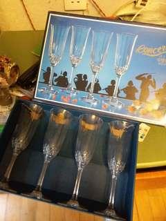 1set4隻crystal高身酒杯