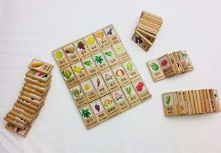 Learning words with wooden blocks