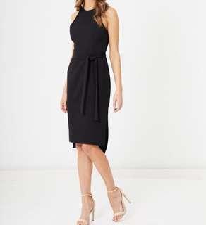 Tussah midi black dress