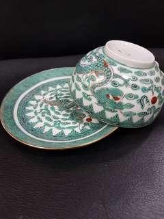 Vintage green dragon cup & saucer set