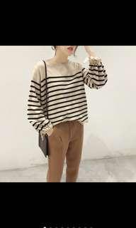 🚚 韓版 經典條紋袖口綁帶寬鬆顯瘦柔軟舒適圓領長袖針織上衣/毛衣