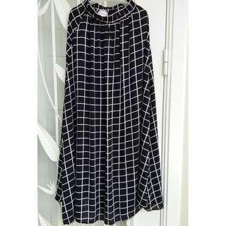 Grid printed maxi skirt