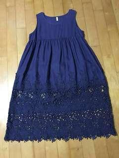 Linen Navy Blue Long Dress w Lace detail