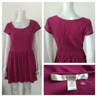 Lauren Conrad Maroon Crochet Dress