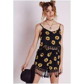 MISSGUIDED sunflower shorts crochet trim black floral festival boho showpo prettylittlething boohoo fashionnova