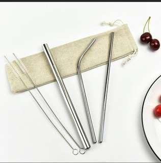 Reusable metal straws with pouch
