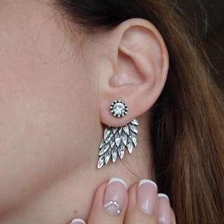 Crystal Wing Ear Studs Silver Earrings Diamond Wings