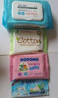 BN Dr. ato Hands & Mouth Wet Tissues or Pure Natural Cotton Nature's Gentle Touch Wipes or Kodomo Wipes or Zappy Wipes