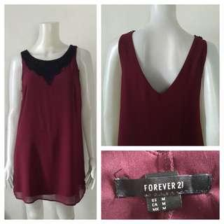 Forever 21 Maroon V Shaped Back Dress