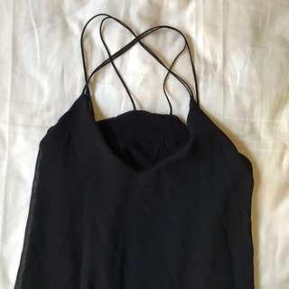 🚚 Black cross cross v maxi slit dress