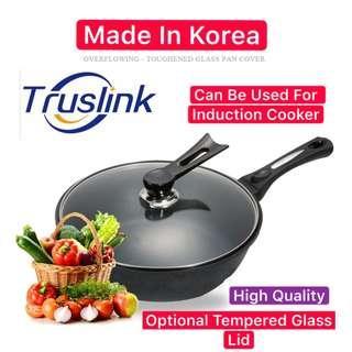 Original Korea Queen Sense Φ30CM Maifan Stone Frying Pan Non-Stick Pot Korea Oil-Free Deepening Induction Cooker Gas Household Saucepan