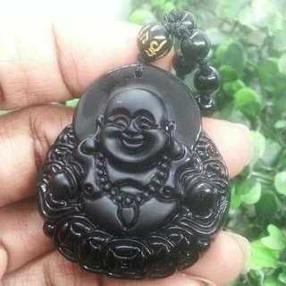 黑曜石笑佛雕刻 (45*40mm) Obsidian Maitreya Carving Pendant