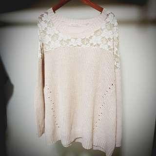 Lovfee 蕾絲 粉紅 淡粉紅 櫻花粉 針織衫 毛衣 長版上衣 小洋裝 針織洋裝 透膚 花朵 長版針織 薄款