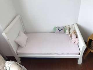 Mothercare Chiltern Sleigh Cot Bed + Mattress Coolmax