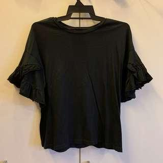 Seed Black Frilly Top