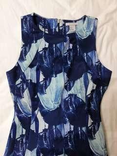 H & M blue motif dress