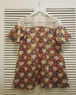 Preloved batik and lace top or minidress
