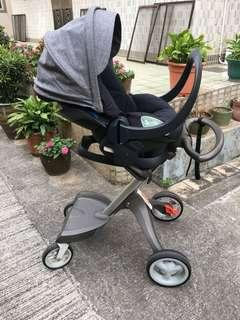 Stokke xplory Baby pram BB 車 set with two (2 in one car seat and baby pram seat) bassinet 籃 stroller 初生 infant not chicco