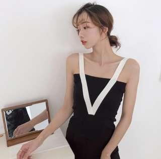 V Knitted Elegant Big V Neck Spaghetti Top Color Block Colour Block Office Shirt Work Top - Black White Mustard Yellow Beige Nude Khaki Sleevesless Top Summer Top