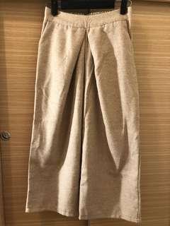 🚚 杏色毛呢寬褲