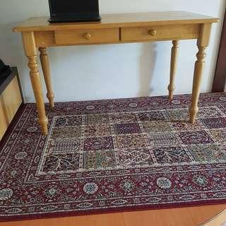 Mahogany (Solid Wood)  Study Table and Carpet