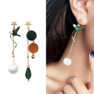 ╭✿蕾兒0509✿╮EB053-韓國耳飾獨特風格小鳥依人不對稱耳環耳釘耳針飾品首飾流蘇耳環