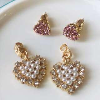 最後一對心形粉紅碎石耳環Earrings 2種帶法