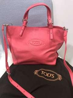 Pre-Loved TODS Calfskin Leather Crossbody Sling Bag in Coral (Excellent Condition)