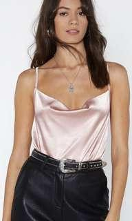 Light Dusty Pink Cowl Neck Cami Size 8