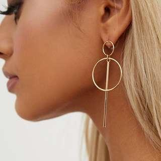 GOLD DOUBLE CIRCLE BAR EARRINGS 幾何圈圈耳環
