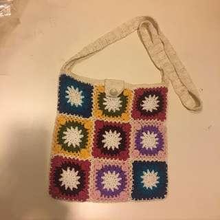 Sling,crossed body knitted bag